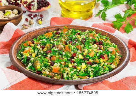 Salad With Pomegranate, Pistachio Nuts, Parsley, Peppermint,  Onion, Tomato