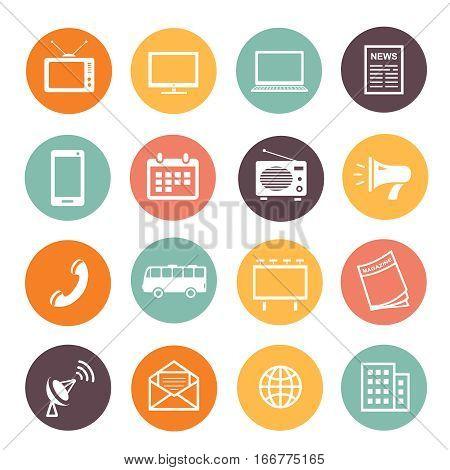 Flat design advertising promotion elements icons web development service, social media marketing sings.
