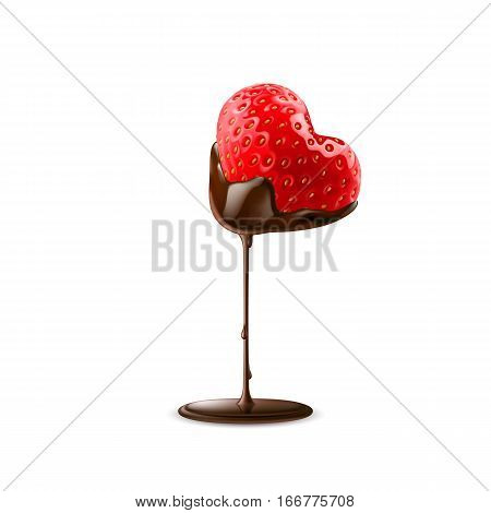Strawberry in Chocolate Dipping Valentine Day Isolated On White Background