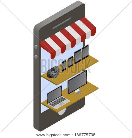 Isometric store online shopping electronics devises. Mobile phone store front. Smartphones and tablets, computers and laptops on shelves.