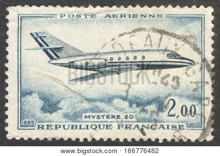 MOSCOW RUSSIA - CIRCA DECEMBER 2016: a post stamp printed in FRANCE shows a plane the series
