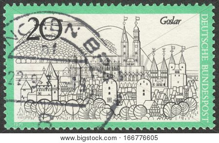 MOSCOW RUSSIA - CIRCA DECEMBER 2016: a post stamp printed in GERMANY shows a view of Goslar the series