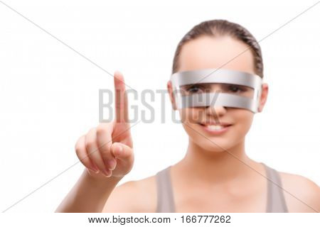 Techno girl pressing virtual button isolated on white