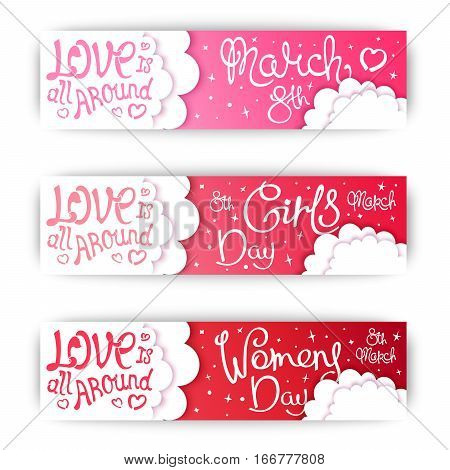 Set banners for International Womens Day. Different versions of names. Girls Day. 8 March. Trendy handwritten calligraphy. Vector cartoon illustration
