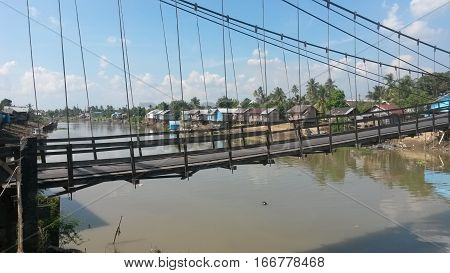 Asian River Suspension Bridge Travel Indonesia Kalimantan Borneo