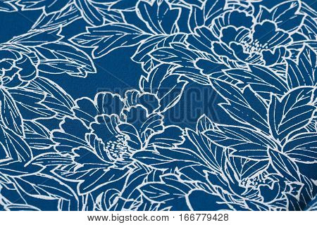 Printed fabric texture background close up picture.