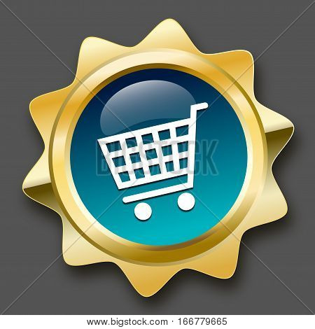 Shopping seal or icon with shopping cart symbol. Glossy golden seal or button with turquoise color.