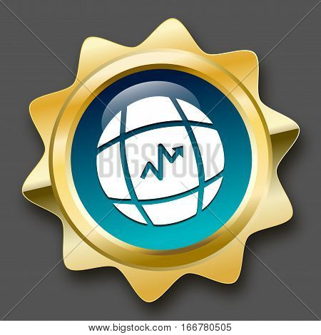 global trading seal or icon with arrow symbol. Glossy golden seal or button turquoise color.
