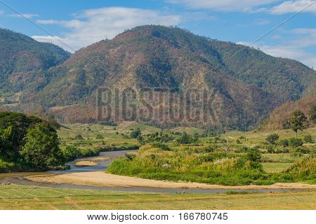 Natural view and mountain at Pai, Thailand.