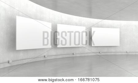 Empty modern exhibition gallery interior and hanging white canvas with light from ceiling. 3D rendering.