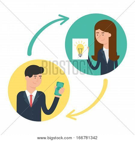 Investment, patenting, buying and selling ideas vector illustration