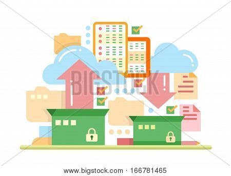 Files archiving, backup - vector modern flat design illustration with archivation process, boxes, clouds, arrows