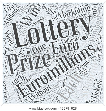 How to win Euro Millions lottery prizes every week without buying tickets Word Cloud Concept