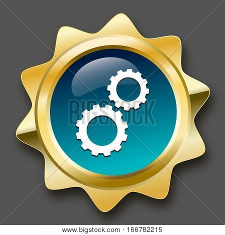 Quality product seal or icon with gear wheel symbol. Glossy golden seal or button with stars and turquoise color.