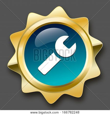 Quality product seal or icon with forceps symbol. Glossy golden seal or button with turquoise color.