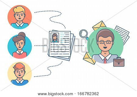 Human resources, recruitment vector illustration modern style