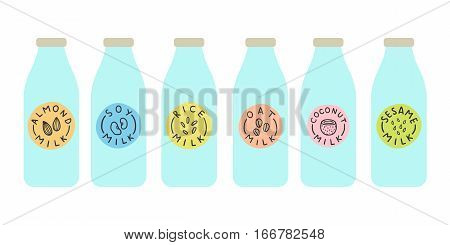 Bottles with different variation of plant based milk. Vector hand drawn illustration