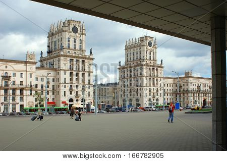 Two towers on the city gate Railway Square April 26 2005 in Belarus editorial