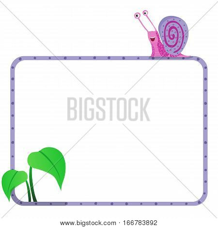 Cartoon cute color snail vector illustration with text space