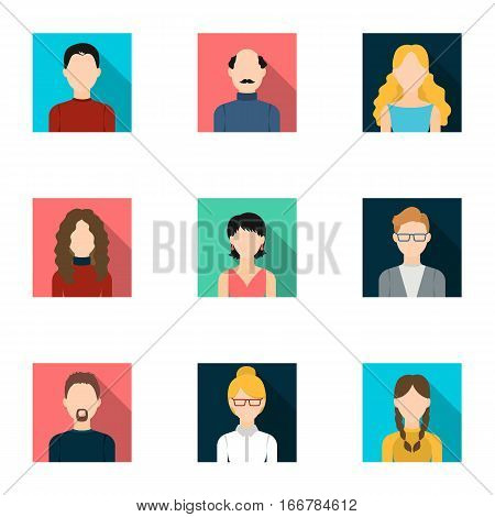 Avatar set icons in flat style. Big collection of avatar vector symbol stock