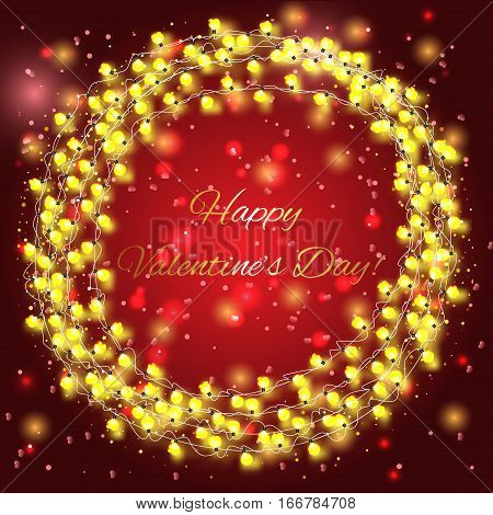 Valentines day background with yellow bright lights