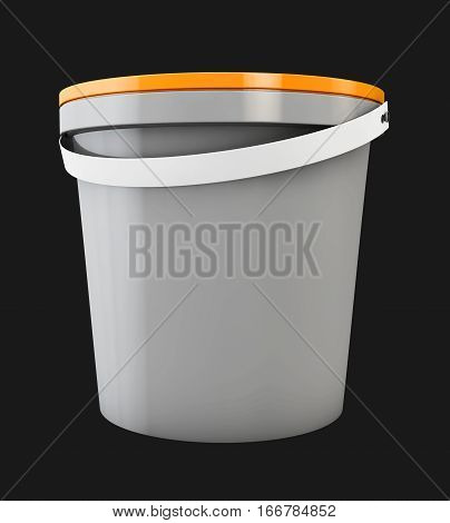 3d Illustration of plastic bucket. Product Packaging For food, foodstuff or paints