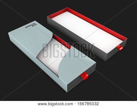 3d Illustration of gift box with cover isolated on black.