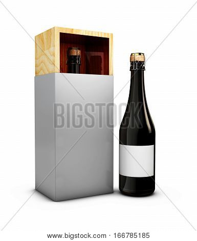 3d Illustration of Wine bottle with wine box isolated white