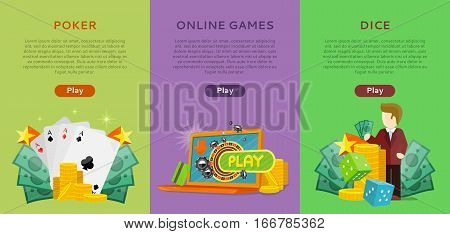 Pocker, online games, dice casino banners set. Online play concept. Roulette wheel, cards money coins chips game dealer croupier. Gambling luck, fortune bet, risk and leisure, jackpot chance. Vector