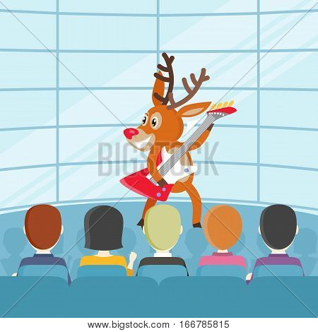 Performance on talent show cartoon concept. Joyful horned reindeer dancing and playing on electrical guitar on concert for public or jury flat vector illustration. Music competition, listening rock