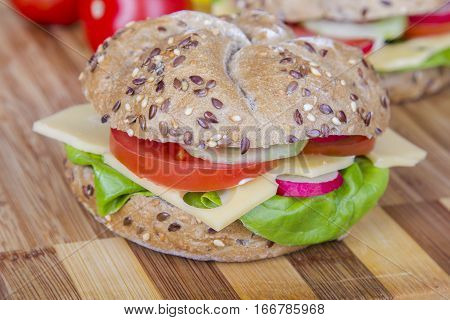 Tasty vegetarian wholemeal sandwich with vegetables and chesse