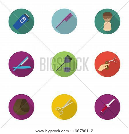 Hairdresser set icons in flat style. Big collection of hairdresser vector symbol stock