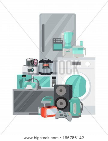 Household appliances in flat style. Illustration for electronics stores advertising. Electric equipment for every day use. Big sale concept. Set of electronic devices. Black friday. Vector
