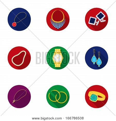 Jewelry and accessories set icons in flat design. Big collection of jewelry and accessories vector symbol stock illustration