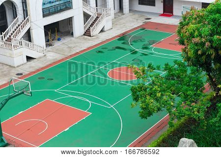 outdoor basketball court in a day time