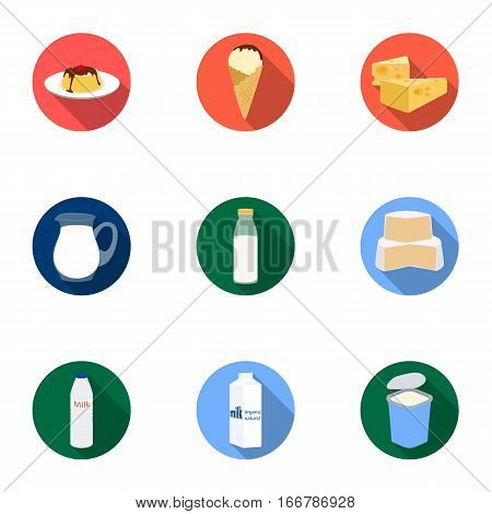Milk product and sweet set icons in flat design. Big collection of milk product and sweet vector symbol stock illustration