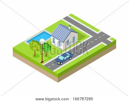 Isometric city vector web banner. Isometric projection. Horizontal illustration with fragment of street with road crossing, house, trees, lawn, lantern, car. For design studio ad