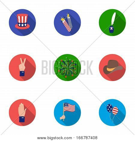 Patriot Day set icons in flat style. Big collection of Patriot Day vector symbol stock