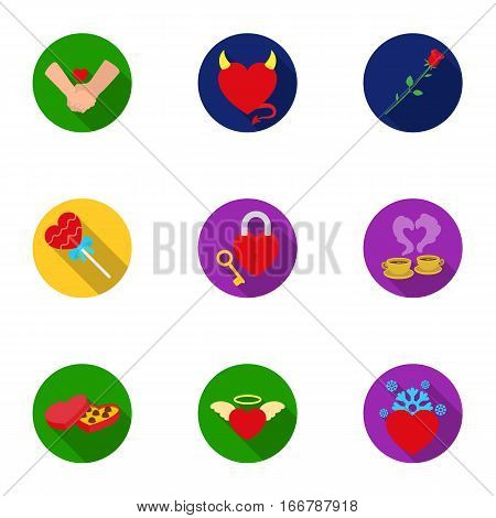 Romantic set icons in flat style. Big collection of romantic vector symbol stock