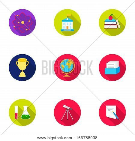 School set icons in flat style. Big collection of school vector symbol stock