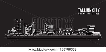 Cityscape Building Line art Vector Illustration design - Tallinn city
