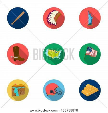 USA country set icons in flat style. Big collection of USA country vector symbol stock