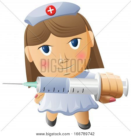 Honey sister with a syringe vector illustration isolated on white background