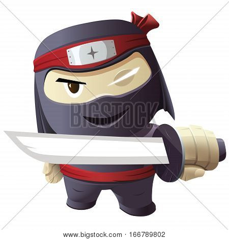 Ninja character - Serious ninja with sword. Vector illustration.