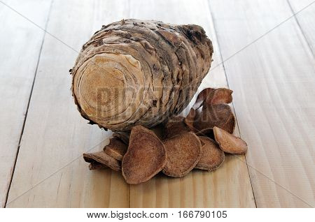 Curcuma comosa Roxb. or Curcuma latifolia Roscoe roots which is part of ZINGIBERACEAE family useful thai herb for lady menstruration treatment isolated on wooden board
