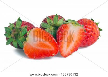 Strawberry fruit (Also named as Fragaria strawberry or Fragaria ananassa berry) isolated on white background