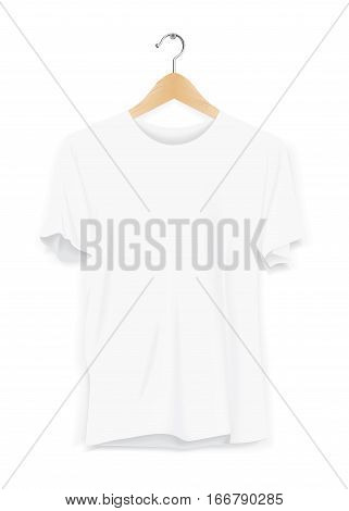 Mock-up T shirt Template Hanger Advertising Store Fashion Casual Apparel White