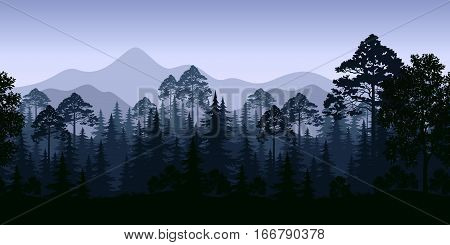 Seamless Horizontal Night Forest Landscape, Trees and Mountains Silhouettes. Vector