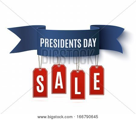 Presidents Day sale  background template. Badge with blue ribbon and price tags, isolated on white background. Vector illustration.