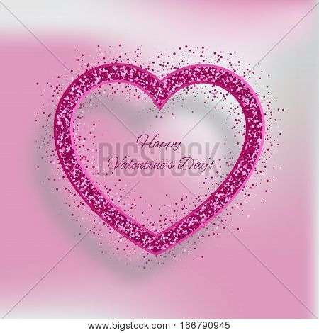 Valentines Day card with heart of red glitters